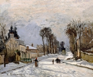 Road to Versailles at Louveciennes (The Snow Effect) painting reproduction, Camille Pissarro