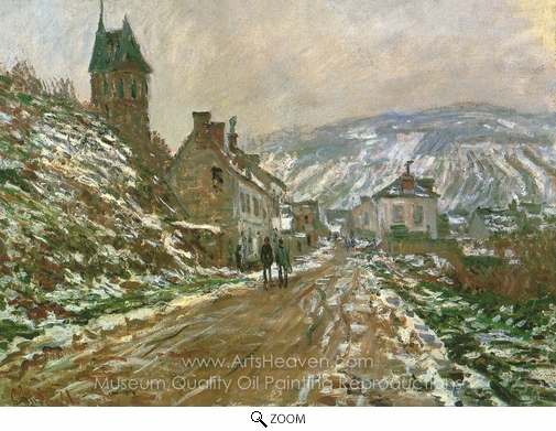 Claude Monet, Road to Vetheuil in Winter oil painting reproduction