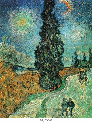 Vincent Van Gogh, Road with Cypress and Star oil painting reproduction