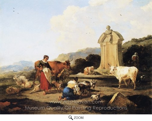 Nicolaes Berchem, Roman Fountain with Cattle and Figures oil painting reproduction