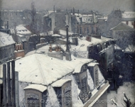 Rooftops Under Snow painting reproduction, Gustave Caillebotte