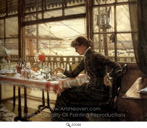James Tissot, Room Overlooking the Harbour oil painting reproduction