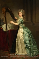 Rose-Adelaide Ducreux with a Harp painting reproduction, Joseph Ducreux