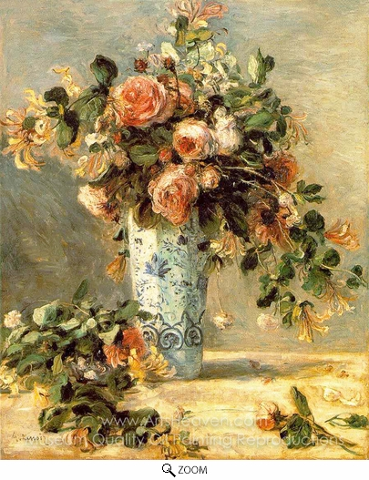 Pierre-Auguste Renoir, Roses and Jasmine in a Delft Vase oil painting reproduction
