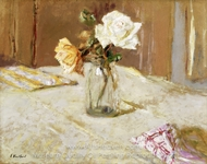 Roses in a Glass Vase painting reproduction, Edouard Vuillard