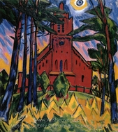 Rote Kirche painting reproduction, Max Pechstein