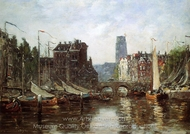 Rotterdam, Le Pont de Bourse painting reproduction, Eugene-Louis Boudin
