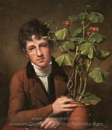 Rubens Peale with a Geranium painting reproduction, Rembrandt Peale