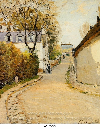 Alfred Sisley, Rue de la Princesse, Louveciennes oil painting reproduction