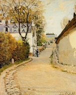 Rue de la Princesse, Louveciennes painting reproduction, Alfred Sisley