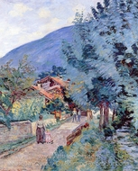 Rue de la Scierie, Pontcharra painting reproduction, Armand Guillaumin
