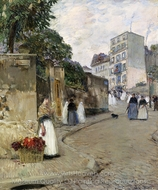 Rue Montmartre, Paris painting reproduction, Childe Hassam