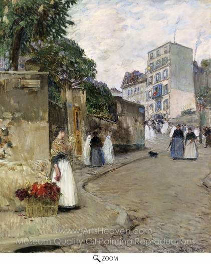 Childe Hassam, Rue Montmartre, Paris oil painting reproduction