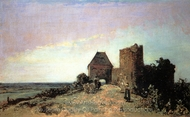 Ruins of the Chateau of Rosemont painting reproduction, Johan Barthold Jongkind