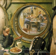 S-Class Submarine: the Wardroom and Forward Mess Deck painting reproduction, Stephen Bone