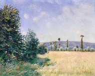 Sahurs Meadows in Morning Sun painting reproduction, Alfred Sisley