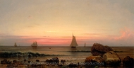 Sailing off the Coast painting reproduction, Martin Johnson Heade