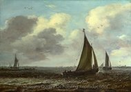 Sailing Vessels on a River in a Breeze painting reproduction, Jan Van Goyen