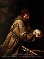 Saint Francis in Prayer painting reproduction, Caravaggio