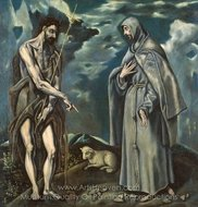 Saint John the Baptist and Saint Francis of Assisi painting reproduction, El Greco