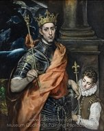 Saint Louis, King of France, with a Page painting reproduction, El Greco