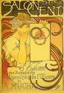 Salon of the Hundred painting reproduction, Alfonse Mucha