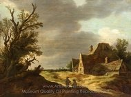 Sandy Road with a Farmhouse painting reproduction, Jan Van Goyen