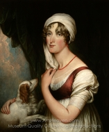 Sarah Trumbull with a�Spaniel painting reproduction, John Trumbull