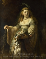 Saskia van Uylenburgh in Arcadian Costume painting reproduction, Rembrandt Van Rijn