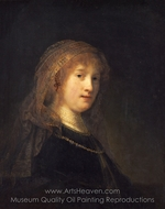 Saskia van Uylenburgh, the Wife of the Artist painting reproduction, Rembrandt Van Rijn