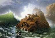 Seal Rock painting reproduction, Albert Bierstadt