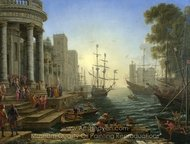 Seaport with the Embarkation of Saint Ursula painting reproduction, Claude Lorraine