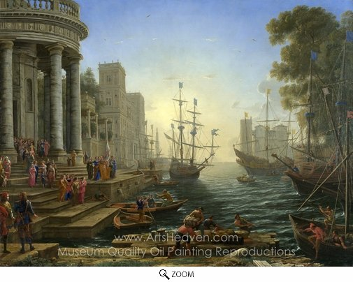 Claude Lorraine, Seaport with the Embarkation of Saint Ursula oil painting reproduction