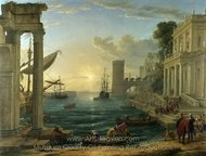 Seaport with the Embarkation of the Queen of Sheba painting reproduction, Claude Lorraine
