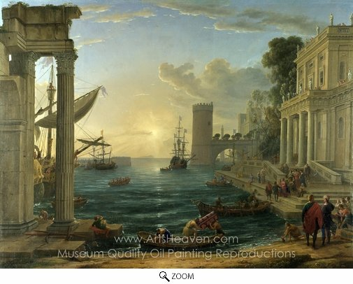Claude Lorraine, Seaport with the Embarkation of the Queen of Sheba oil painting reproduction