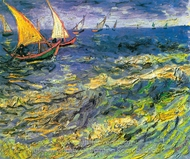 Seascape at Saintes-Maries painting reproduction, Vincent Van Gogh