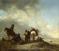 Seashore with Fishwives Offering Fish painting reproduction, Philips Wouwerman