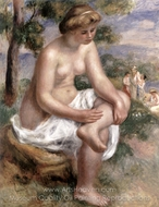 Seated Bather in a Landscape (Eurydice) painting reproduction, Pierre-Auguste Renoir