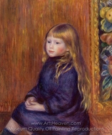 Seated Child in a Blue Dress painting reproduction, Pierre-Auguste Renoir