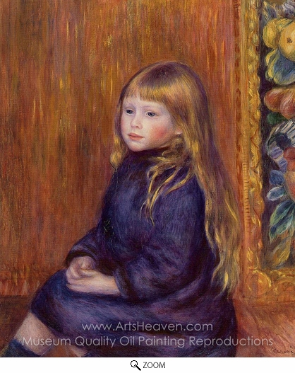 Pierre-Auguste Renoir, Seated Child in a Blue Dress oil painting reproduction