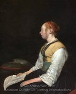 Seated Girl in Peasant Costume painting reproduction, Gerard Ter Borch