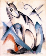 Seated Imaginary Animal painting reproduction, Franz Marc