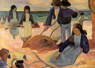 Seaweed Gatherers painting reproduction, Paul Gauguin