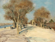 Seine Bank, the Sunny Road painting reproduction, Jean-Francois Raffaelli
