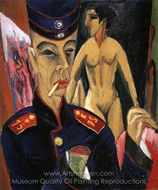 Self-Portrait as a Soldier painting reproduction, Ernst Ludwig Kirchner