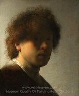 Self-Portrait at an Early Age painting reproduction, Rembrandt Van Rijn