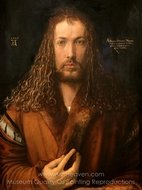 Self-Portrait in a Fur Coat painting reproduction, Albrecht Durer
