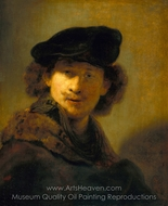 Self-Portrait in a Velvet Beret painting reproduction, Rembrandt Van Rijn