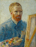 Self-Portrait in Front of the Easel painting reproduction, Vincent Van Gogh