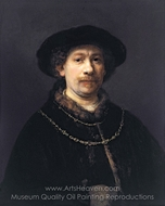 Self-Portrait Wearing a Hat and Two Chains painting reproduction, Rembrandt Van Rijn